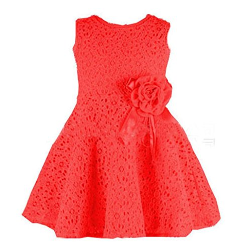 Sannysis® Niños vestido floral de encaje completo; Niño vestido de fiesta de la princesa (Rojo, 120)