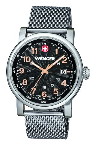 Wenger Urban Classic 01.1041.106 - Reloj analógico de cuarzo para hombre, correa de acero inoxidable color plateado (agujas luminiscentes)