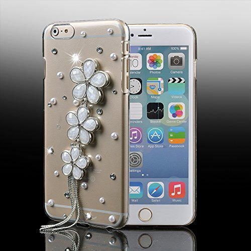 Iphone 6 Case,Ic Iclover [Crystal Series] Fit For Iphone 6 4.7 Case, 3D Crystal Rhinestone Diamond Bling Bumper Skin Case Glitter Hard Case Cover For Iphone 6 4.7 Inch Protector Case Carries At&T,T-Mobile,Verizon,Sprint-Flower