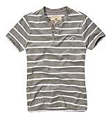 Hollister Mens / Boys Designer Cotton Short Sleeve Button Henley T Shirt Grey Large