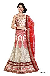 Kataria fabrics Cream Red Lehnga