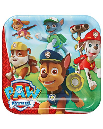 "American Greetings PAW Patrol 9"" Square Plate, Party Supplies (8 Count)"