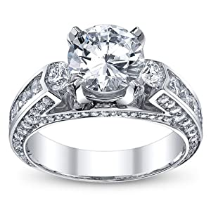 3.50 Ct Round Cut Diamond 3 Stone Engagement Ring on Platinum 2.00 ct E-F - VS GIA Certified Center Stone