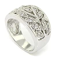 Exquisite Flower Leaves Retro Ring w/Pavé