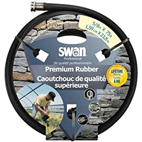 Swan Premium Rubber SNCPM58075 Heavy Duty 5/8-Inch by 75-Foot Black Water Hose