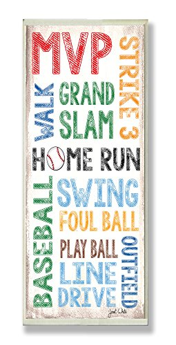 The Kids Room by Stupell Home Run Baseball Typography Rectangle Wall Plaque