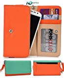 Smartphone Wristlet and Wallet [ Orange and Seafoam Green ] - Fits Blu Studio 5.0 S D560 D570 / Universal Case designed By Kroo + Complimentary NextDia ™ Velcro Cable Strap Included