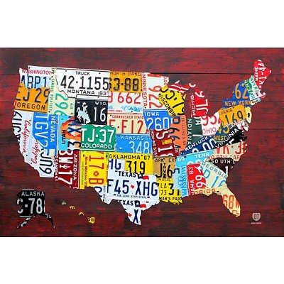 (24x36) License Plate Map of the United States Art Print Poster