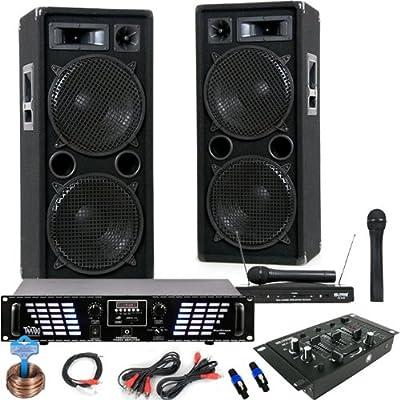 2000W PA Anlage Boxen MP3 USB SD 3000W Endstufe Mixer Funkmikrofonset DJ-711 von etc-shop auf Reifen Onlineshop