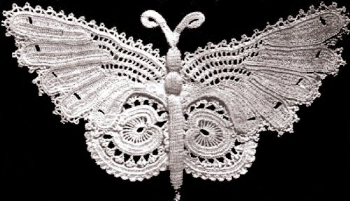 Vintage Crochet PATTERN to make - Antique Irish Crochet Butterfly Motif Applique. NOT a finished item. This is a pattern and/or instructions to make the item only.