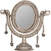 Rajasthan Craft Art Aluminum Antique Round Carving Stand Mirror (33.2 Cm X 25 Cm X 35.56 Cm, Silver)