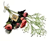 3world 欧風 バラ と かすみ草 花束 本物みたいな 造花 インテリアフラワー SW406 赤