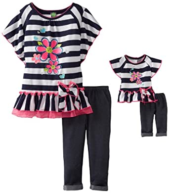 Dollie & Me Little Girls' Drop Waist Legging Set with Doll Garment, Navy/White, 4