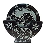 "3"" Black Marble Coaster Set With Hand Made Natural Elephant Paint Work Pack Of 6 Plates"
