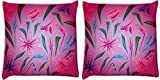 Snoogg Colorful Petals Pack Of 2 Digitally Printed Cushion Cover Pillows 12 X 12 Inch
