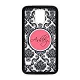 Personalized Monogram Damask Pattern Vs Rose Initials Unique Custom Samsung Galaxy S5 Best Durable Rubber+Plastic Cover Case Custom Color and Text,New Fashion, Best Gift