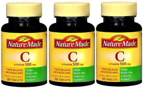 Nature Made Vitamin C 500 Mg Timed Release With Rose Hips (60Tables Each Bottle) (Qty, Of 3 Bttles)