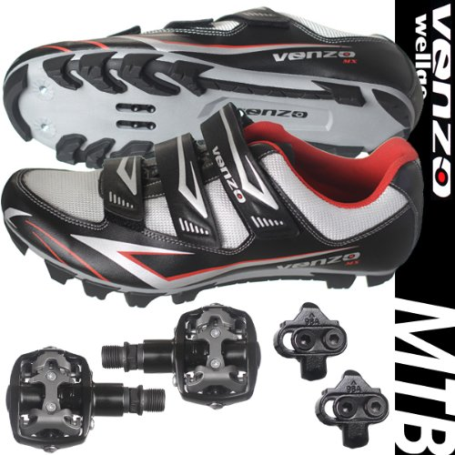 Venzo Mountain Bike Bicycle Cycling Shimano SPD Shoes + Pedals & Cleats 45