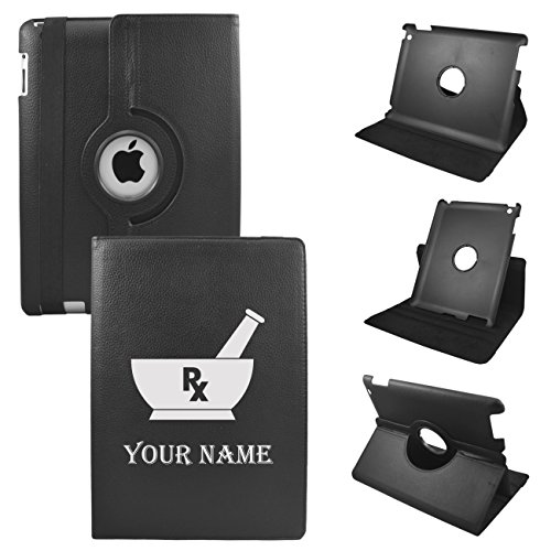 Ipad Mini Rx Custom Leather Rotating Case 360 Degrees Multi-Angle Vertical And Horizontal Stand With Strap (Black)