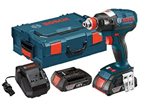 Bosch IDH182-02L 18-volt Brushless Socket Ready Impact Driver with 2.0Ah Batteries, Charger and L-Boxx-2