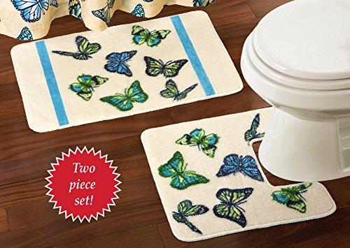 Springtime Butterflies Bathroom Floor Mat