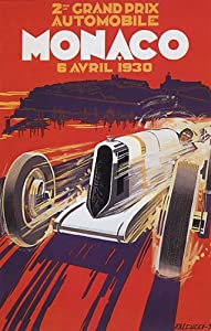 SECOND GRAND PRIX AUTOMOBILE MONACO 1930 CAR RACE VINTAGE POSTER CANVAS REPRO