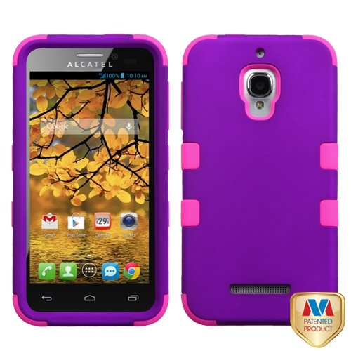 Cell Accessories For Less (Tm) Alcatel One Touch Fierce Hard Grape/Electric Pink Tuff Hybrid Case Cover + Bundle (Stylus & Micro Cleaning Cloth) - By Thetargetbuys
