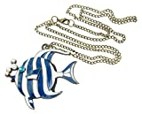 Womdee(TM) Bronze Chain Stripes Bubbling Angelfish Swim Tropical Fish Pendant Necklace-Blue&White