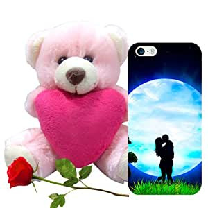 Valentine Gifts Homesogood Kiss Beneath Moon Multicolor 3D Mobile Case For iPhone 5 / 5S (Back Cover) With Teddy & Red Rose