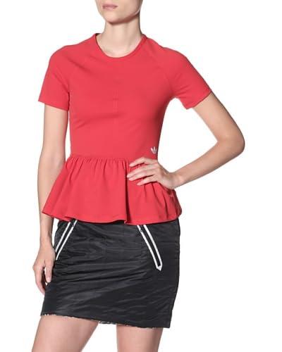adidas Originals x Opening Ceremony Women's Peplum Short Sleeved Tee, Poppy, M