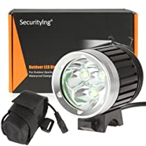 SecurityIng® 3X CREE XM-L T6 LED 4 Modes 3800Lm Super Bright Headlight/ Headlamp and Bicycle Light ,Hight Quality Super Bright Cree LED Headlight for Cmaping, Hiking, Outdoor Sports