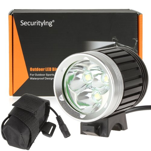 Securitying® 3800 Lumens 3X T6 Led Bicycle Light 4 Modes Super Bright Bike Light Headlight Led Lighting Headlamp With 8.4V Rechargeable Battery Pack And Charger