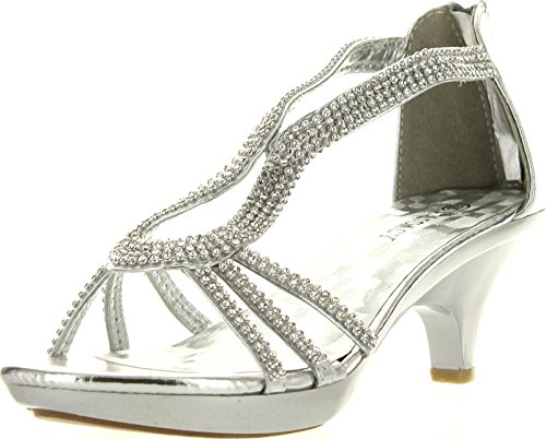 Delicacy Angel 36 Women Dress Sandals Rhinestone Platform Pumps Wedding Bridal Low Heel SNJ Shoes Silver 8.5