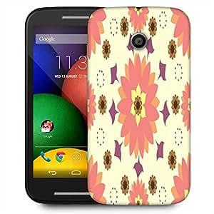 Snoogg Cream Floral Designer Protective Phone Back Case Cover For Motorola E2 / MOTO E22