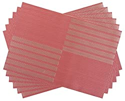 SiCoHome Placemats PVC Dining Room Placemats for Table Heat Insulation Stain-resistant Woven Vinyl Kitchen Placemat Vinyl Placemats,set of 6 (Diagonal Stripe,Red)