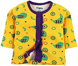 Snuggles Full Sleeve Front Open Jabla Sparrow Print - Spectra Yellow (3-6M)