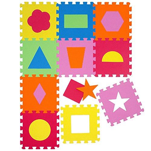 Tappeto Puzzle per Bambini   in Soffice Schiuma EVA   Tappetino Gioco per la Cameretta   con Figure Geometriche da Comporre