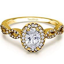buy Yellow Silver Twisted Shank Halo Engagement Ring With Cz (0.99 Ct. Twt.)