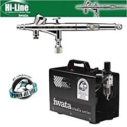 Iwata Hi-Line HP-BH Airbrushing System with Power Jet Lite Air Compressor