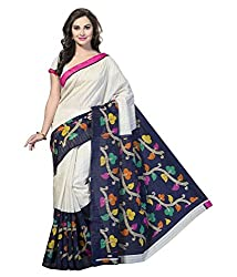 KRIZEL White Bhagalpuri Silk Saree With Blouse