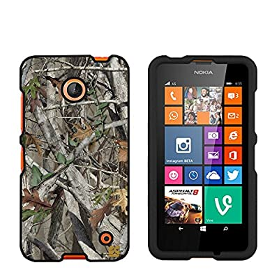 Premium Protection Slim Light Weight 2 piece Snap On Non-Slip Matte Hard Shell Rubber Coated Rubberized Phone Case Cover With Design For Nokia Lumia 635 (Window Phone) - Autumn Camouflage - Black - Retail Packaging by Beyondcell