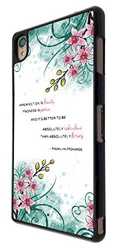 431 - Floral Shabby Chic Roses impefection Beauty Madness is Genius Quote Design für Alle Sony Xperia Z / Sony Xperia Z1 / Sony Xperia Z2 / Sony Xperia Z3 / Sony Xperia Z4 / Sony Xperia Z1 Compact / Sony Xperia Z2 Compact / Sony Xperia Z3 Compact / Sony Xperia Z4 Compact / Sony Xperia M2 / Sony Xperia M4 Fashion Trend Hülle Schutzhülle Case Cover Metall und Kunststoff - Bitte wählen Sie Ihr Telefonmodell und Farbe aus der Dropbox