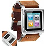 Watchband Watch Wrist Strap for iPod Touch Nano 6th Generation - CHICAGO DUSTY (Leather, Brown)