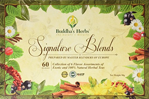Buddha's Herbs Premium Tea Sampler - Herbal Tea Sampler - 6 Flavor Tea Gift Set - Tea Bags Tea Gifts Tea New Year Gifts, 60 Count