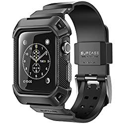 Apple Watch Case, SUPCASE [Unicorn Beetle Pro] Rugged Protective Case with Strap Bands for Apple Watch / Watch Sport / Watch Edition 2015 [42mm Not Compatible with 38 mm] (Black)