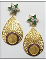 E-designs Rhodium / Gold Plated Earring With CZ Stone Alongwith Colour Stones Studded For Women - B00HNMNTT2