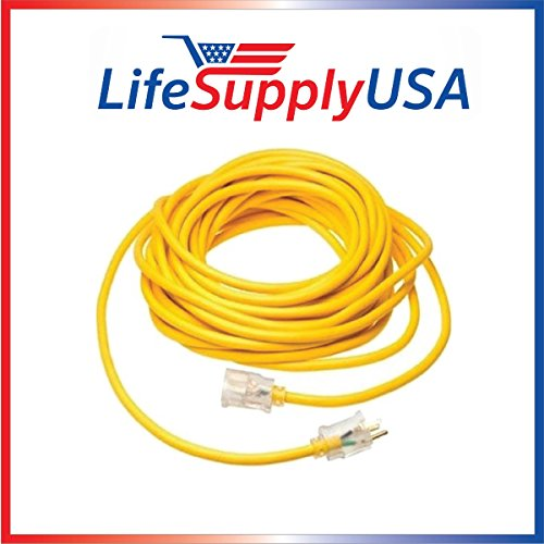 25Ft 16/3 300V SJT Extension Cord LED Lighted End Prong for Indoor + Outdoor Use 16x3 25 Foot