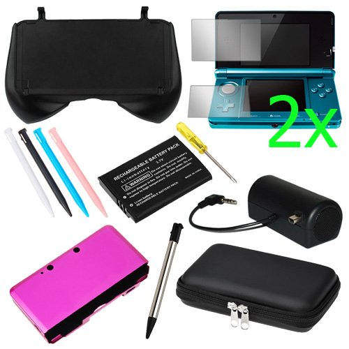 GTMax EVA Pouch Case + 4 Colors Stylus + Hot Pink Aluminum Hard Metal Cover Case + 2x Clear LCD Screen Protector +Black Mini Stero Speaker + Li-Ion Battery + Retractable Metalic Stylus for Nintendo 3DS
