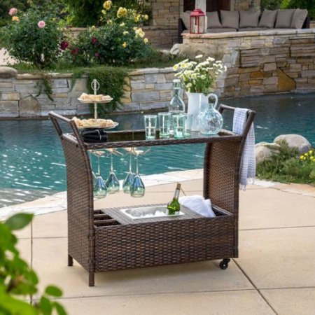 Home Outdoor Storage Beverage Aluminum Roll Cart Serving Rolling Patio Portable Resin Wicker Wheels Kitchen Table Island 33-Lbs 36.75inHx44.75inWx18.25inD Aluminum Wicker Assembly Required multi-Brown (Outdoor Patio Beverage Cart compare prices)