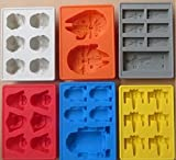 Set of 7 Star Wars Ice Molds: X-Wing Fighter, Han Solo in Carbonite, Darth Vader, R2-D2, Stormtrooper and Millennium Falcon